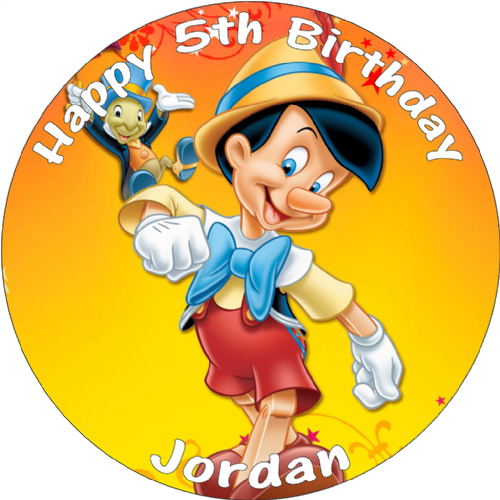 PINOCCHIO PERSONALISED EDIBLE ROUND BIRTHDAY CAKE TOPPER